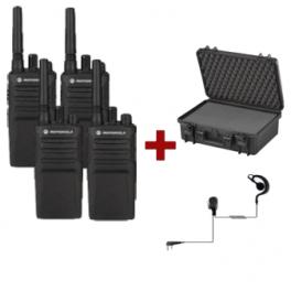 Pack de 4 Motorola XT420 avec 4 Oreillettes PTT & Mallettes de transport