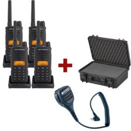 Quad-pack Motorola XT-660 + 4 speakermicrophones + carrying case