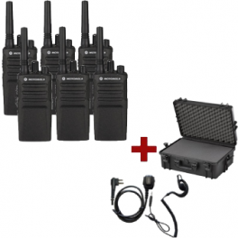 Pack de 6 Motorola XT420 avec Oreillettes PTT & Mallette de transport