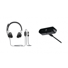 Pack: Casque Logitech Zone Wired UC + Webcam Logitech BRIO STREAM (Noir)