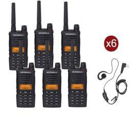 Pack de 6 Talkies-Walkies Motorola XT660D avec 6 Oreillettes PTT
