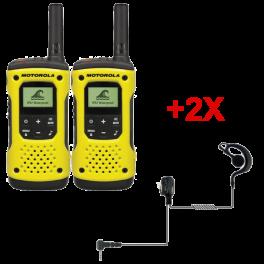 Pack de 2 Talkies-walkies PMR446 sans license Motorola T92 avec 2 Oreillettes PTT