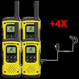 Pack de 4 Talkies-walkies PMR446 sans license Motorola T92 avec 4 Oreillettes PTT