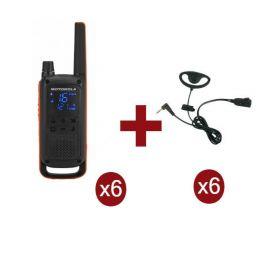 Pack de 6 Motorola Talkabout T82 + contour d'oreilles