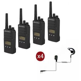 Pack de 4 talkies-walkies Motorola XT460 avec 4 Oreillettes PTT